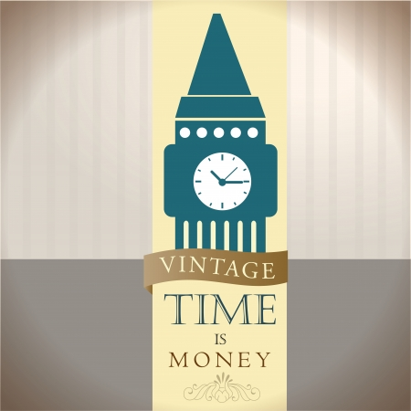 time is money over vintage background illustration