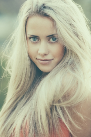 beautiful blond girl sensual portrait